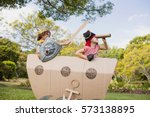 two friends playing and... | Shutterstock . vector #573138895