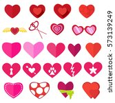 set of hearts for valentine's... | Shutterstock .eps vector #573139249