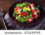 healthy salad plate with... | Shutterstock . vector #573139795