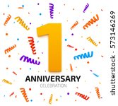 one year anniversary banner. 1... | Shutterstock .eps vector #573146269