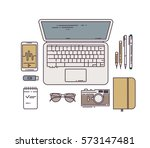 flat line workplace concept.... | Shutterstock .eps vector #573147481