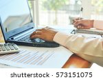 taking notes from a telephone...   Shutterstock . vector #573151075
