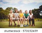 happy children sitting on a...   Shutterstock . vector #573152659