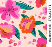 seamless floral pattern with... | Shutterstock . vector #573161941