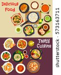 seafood dishes icon set of fish ... | Shutterstock .eps vector #573163711