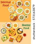 appetizing lunch icon set with... | Shutterstock .eps vector #573163879