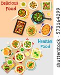 tasty dishes for lunch menu... | Shutterstock .eps vector #573164299
