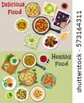 tasty lunch icon set of... | Shutterstock .eps vector #573164311
