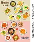 healthy meal icon set of... | Shutterstock .eps vector #573164389