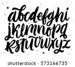 handwritten script alphabet... | Shutterstock .eps vector #573166735