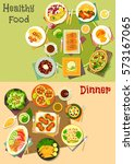 main dishes with appetizers... | Shutterstock .eps vector #573167065