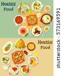 popular lunch food icon set... | Shutterstock .eps vector #573169591