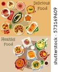 tatar national cuisine icon set ... | Shutterstock .eps vector #573169609
