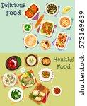 tasty dinner icon set of salami ... | Shutterstock .eps vector #573169639