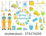 spring cleaning icons  flat... | Shutterstock .eps vector #573174205