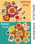 popular dishes for dinner menu... | Shutterstock .eps vector #573174655