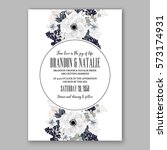 anemone wedding invitation card ... | Shutterstock .eps vector #573174931