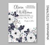 anemone wedding invitation card ... | Shutterstock .eps vector #573174961