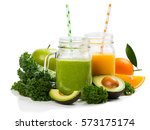 orange and green smoothie with ... | Shutterstock . vector #573175174