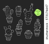 vector collection of cactus.... | Shutterstock .eps vector #573176647