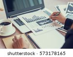 close up of woman hands using... | Shutterstock . vector #573178165
