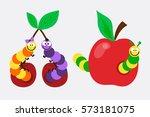 cartoon caterpillar insect... | Shutterstock .eps vector #573181075