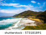 beautiful beach by the great... | Shutterstock . vector #573181891