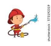child firefighter | Shutterstock .eps vector #573192319