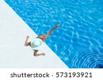beautiful tanned sporty slim... | Shutterstock . vector #573193921