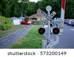 Railroad Crossing Sign With...
