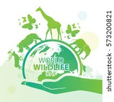 world wildlife day  march 3 | Shutterstock .eps vector #573200821