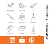 screwdriver  plunger and repair ... | Shutterstock .eps vector #573206269