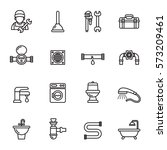 set line icons of plumbing... | Shutterstock .eps vector #573209461