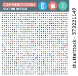 commerce icon set clean vector | Shutterstock .eps vector #573221149