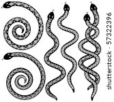 Set of editable vector snakes designs black and white