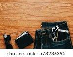 men's accessories on wooden...   Shutterstock . vector #573236395