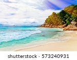 photo of a tropical beach on... | Shutterstock . vector #573240931