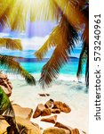 photo of a tropical beach on... | Shutterstock . vector #573240961