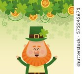 cheerful leprechaun hands up... | Shutterstock .eps vector #573242671