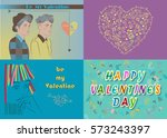 greeting cards set. happy... | Shutterstock .eps vector #573243397