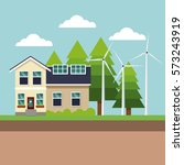 modern house green energy wind... | Shutterstock .eps vector #573243919