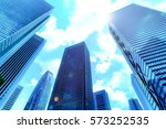 high rise buildings and blue... | Shutterstock . vector #573252535