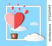 valentine balloon hearts with... | Shutterstock .eps vector #573265495