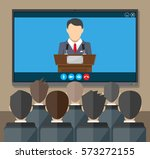 video conference concept. room... | Shutterstock . vector #573272155