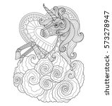 Unicorn With Heart. Zentangle...