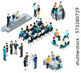 isometric people teamwork set... | Shutterstock .eps vector #573280729