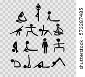 stick figures in different yoga ... | Shutterstock .eps vector #573287485