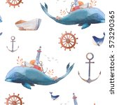 watercolor creative whale... | Shutterstock . vector #573290365