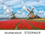 Dutch Windmills And Fields Of...