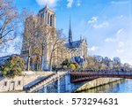 cathedral of notre dame  paris  ... | Shutterstock . vector #573294631